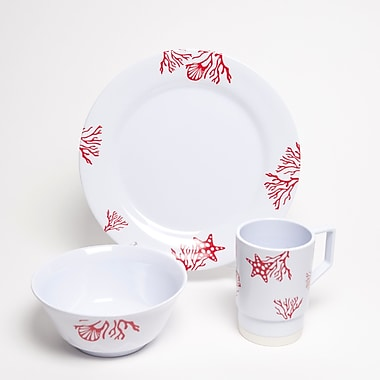 Galleyware Company Decorated Coral Melamine 18 Piece Dinnerware Set, Service for 6