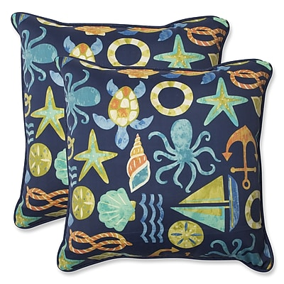 Pillow Perfect Seapoint Indoor/Outdoor Throw Pillow (Set of 2); Neptune