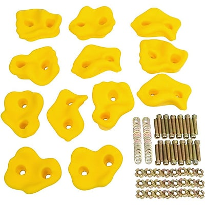 Swing Set Stuff 12 Piece Textured Rock Hold Set; Yellow
