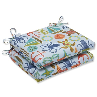 Pillow Perfect Seapoint Outdoor Dining Chair Cushion (Set of 2); Blue