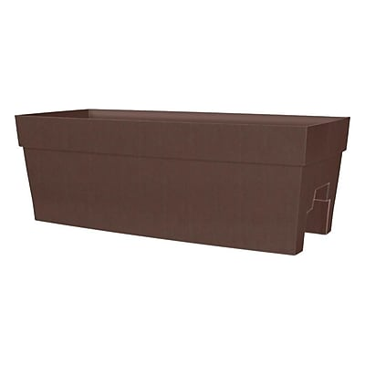 DCN Plastic Self-Watering Thermosplastic Rail Planter; Brown