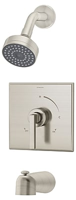 Symmons Duro Pressure Balance Tub and Shower w/ Lever Handle; Satin Nickel