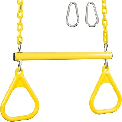Swing Set Stuff Trapeze Bar w/ Rings and Coated Chain; Yellow