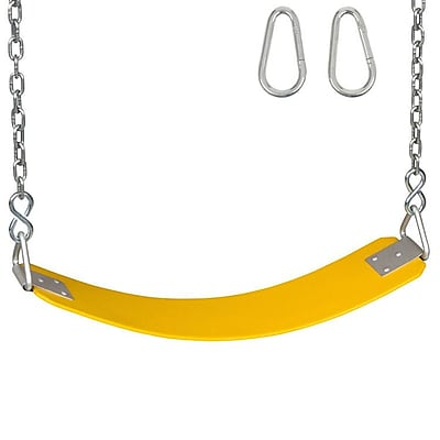 Swing Set Stuff Commercial Rubber Belt Seat w/ Chain And Hook; Yellow