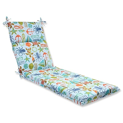 Pillow Perfect Seapoint Outdoor Chaise Lounge Cushion; Blue