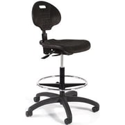 Intensa Height Adjustable Self Skin Laboratory Stool w/ Seat and Back Tilt; Black Composite