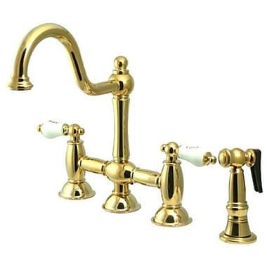 Kingston Brass Restoration Double Handle Deck Mount Kitchen Faucet w/ Spray; Polished Brass