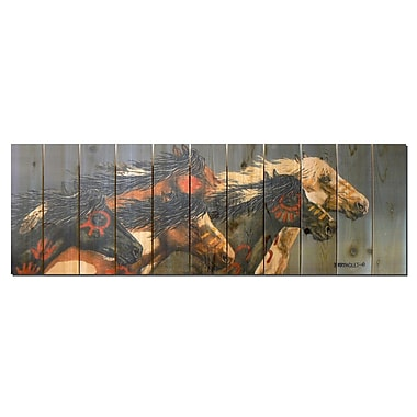 Gizaun Art Signature 1 Night Raid Cedar Painting Print on Cedar; 20'' H x 60'' W