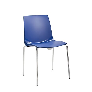 Silver Seating Swell Armless Office Stacking Chair; Blue
