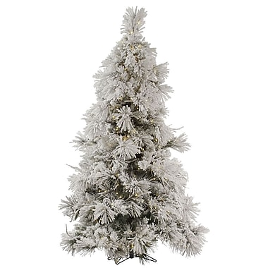 Vickerman Flocked Pocono 7.5' White Pine Artificial Christmas Tree w/ 650 LED White Lights