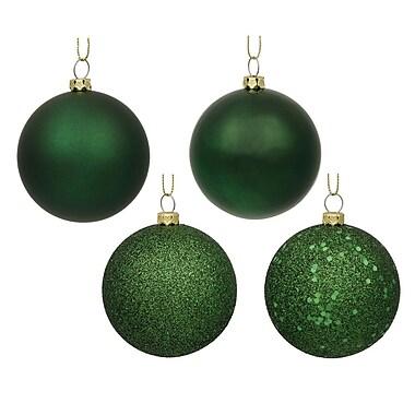 Vickerman Sequin Ball 4 Piece Ball Ornament Set (Set of 4); Emerald