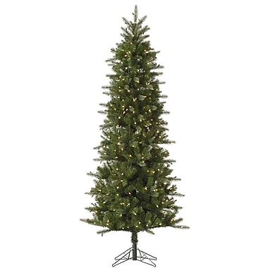 Vickerman Carolina Pencil 6.5' Green Spruce Artificial Christmas Tree w/ 350 Dura-Lit Clear Lights