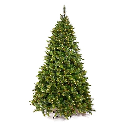 Vickerman Cashmere 7.5' Green Pine Artificial Christmas Tree w/ 700 Dura-Lit Clear Lights w/ Stand