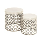 Woodland Imports 2 Piece Simply Stylish Aluminumn Stool Set