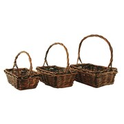 WaldImports 3 Piece Stained Willow Basket Set