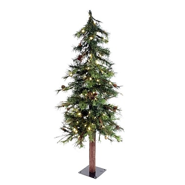 Vickerman Mixed Country Alpine 7' Green Artificial Christmas Tree w/ 250 LED White Lights w/ Stand