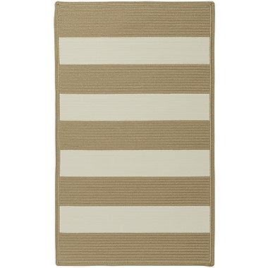Capel Willoughby Cream Striped Outdoor Area Rug; Cross Sewn Square 5'6''