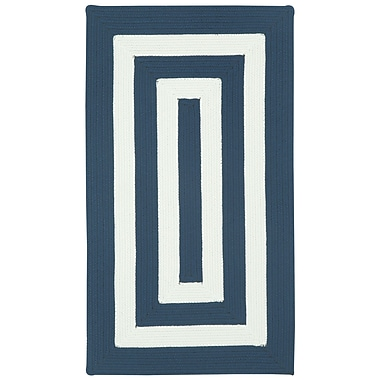 Capel Willoughby Indigo/White Striped Outdoor Rug; Concentric 7' x 9'