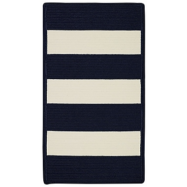 Capel Willoughby Indigo/White Striped Outdoor Rug; Cross Sewn 9'2'' x 13'2''