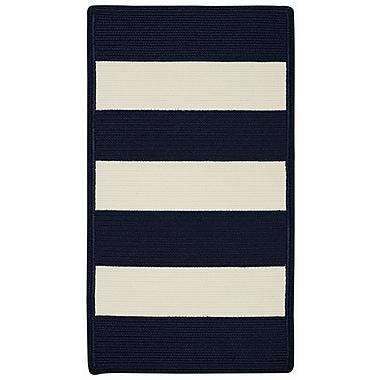 Capel Willoughby Indigo/White Striped Outdoor Rug; Cross Sewn Square 8'6''