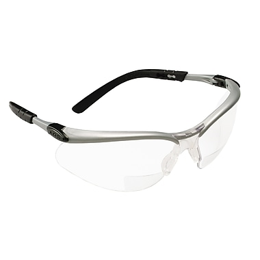 3M Occupational Health & Env Safety Silver & Black Frame Safety Glasses, Clear
