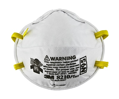 3M N95 Grade Standard Welded Fixed Strap Cup Style Particulate Respirator, 8 in (L), 5 in (W) 1549460