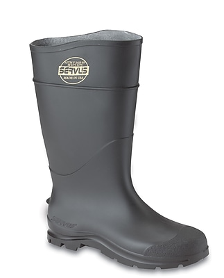 Servus CT™ Economy Steel Toe Knee Boots, PVC, 9 Size, Black, 100% Waterproof