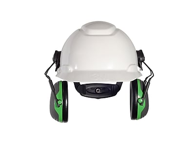 3M Occupational Health & Env Safety X-Series Cap Mount Earmuffs, Black & Green