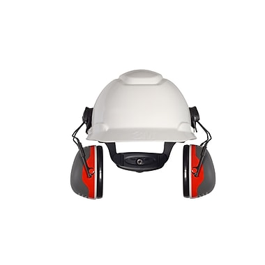 3M Occupational Health & Env Safety X-Series Cap Mount Earmuffs, Black & Red