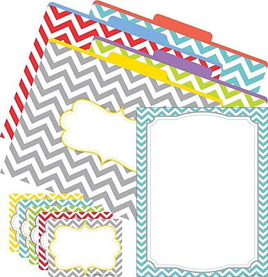 Barker Creek Chevron Beautiful Office Set, 12 letter folders, 45 self-adhesive labels, 50 sheets computer paper/Set