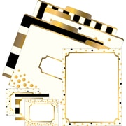 Barker Creek Gold Get Organized Office Set, 12 letter folders, 45 self-adhesive labels, 50 sheets of computer paper/Set