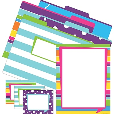 Barker Creek Happy Get Organized Office Set, 12 letter folders, 45 self-adhesive labels, 50 sheets computer paper/Set
