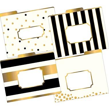 Barker Creek – Chemises tendance dorées, format lettre, coupe 1/3, motifs variés, 12/pqt (LL1337)