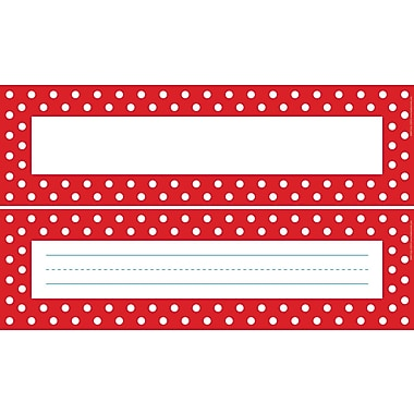 Barker Creek Double-Sided Red & White Dot Name Plates & Bulletin Board Signs, 12