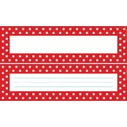 "Barker Creek Double-Sided Red & White Dot Name Plates & Bulletin Board Signs, 12"" long x 3-1/2"" wide, 36/Pack"