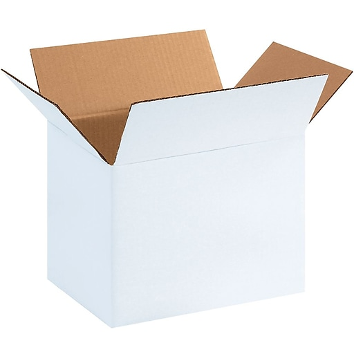 """11.25"""" x 8.75"""" x 8"""" Corrugated Boxes, White, 25/Bundle (1188SCW)"""