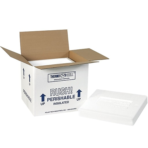 "220C White 9.25"" x 10"" Corrugated Insulated Shipping Kit, 2/Case"