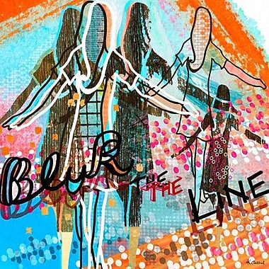 Wheatpaste Blur the Line by Linda Ketelhut Framed Painting Print on Wrapped Canvas