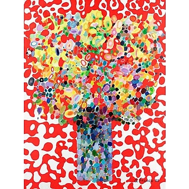 GreenBox Art 'Abstract Bouquet' by Angelo Franco Painting Print on Wrapped Canvas in Red