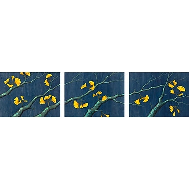 GreenBox Art 'Gold Ginkgo Leaves' by Kate Halpin 3 Piece Graphic Art on Wrapped Canvas Set