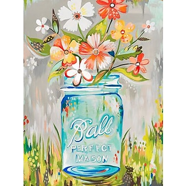 Wheatpaste Ball Perfect Mason Jar by Katie Daisy Framed Painting Print on Wrapped Canvas