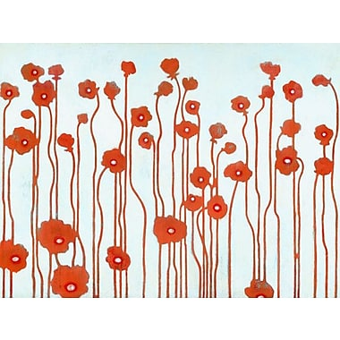 GreenBox Art 'Poppies' by Sally Bennett Painting Print on Wrapped Canvas in Red and Blue