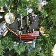 Handcrafted Nautical Decor Wooden Queen Anne's Revenge Model Ship Christmas Tree Ornament