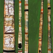 GreenBox Art 'Birch Trunks' by Eli Halpin Graphic Art on Wrapped Canvas in Green