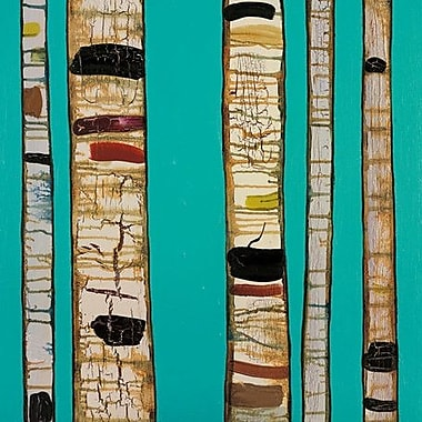 GreenBox Art 'Birch Trunks' by Eli Halpin Graphic Art on Wrapped Canvas in Sky Blue