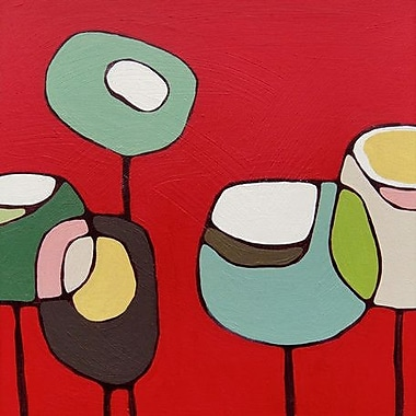 GreenBox Art Poppies by Rachel Austin Graphic Art on Wrapped Canvas in Red
