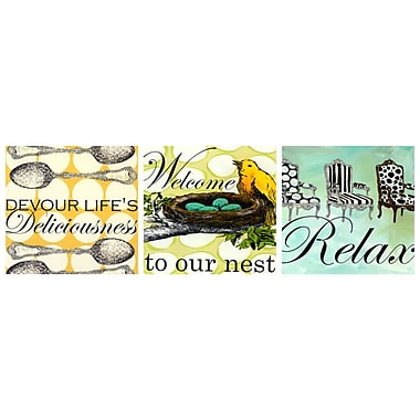 GreenBox Art 'Sweet Sayings Nest Trio' by Shelly Kennedy 3 Piece Graphic Art on Wrapped Canvas Set
