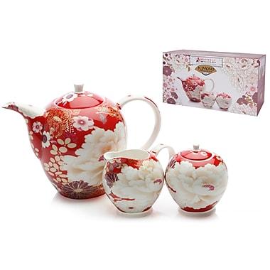 Maxwell & Williams – Service à thé 3 pièces à thématique de kimono, rouge