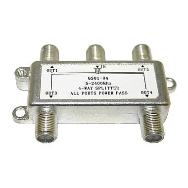 Digiwave – Répartiteur à 4 voies (5 à 2400 MHz), 2,5 x 2,1 x 0,5 po, argenté
