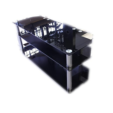Electronic Master TVS062BLK 3 Layer TV Stand with Heavy Duty Glasses, 17.7